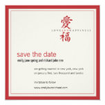 """Asian Symbol Love and Happiness Wedding 5.25"""" Square Invitation Card"""