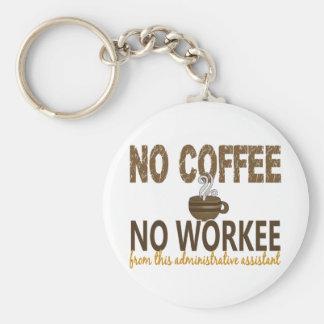 Aucun café aucun assistant administratif de Workee Porte-clé Rond