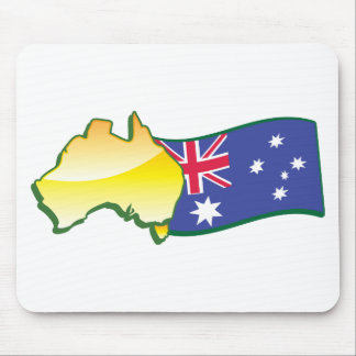 Australian flag and map aussie mouse pad