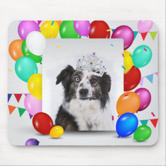 Australian Shepherd Dog Balloons Crown Birthday Mouse Pad
