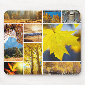Autumn collage mouse pad