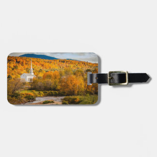 Autumn View Of The Community Church In Stowe Tags For Luggage