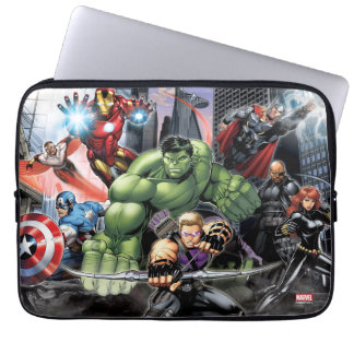 Avengers Defending City Laptop Computer Sleeve
