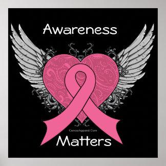 Awareness Matters Grunge Heart - Breast Cancer Poster