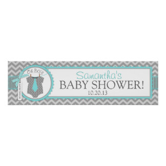 Baby Boy Tie Chevron Print Baby Shower Banner