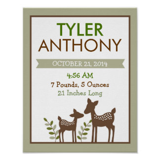 Baby Deer Nursery Wall Art Birth Stats