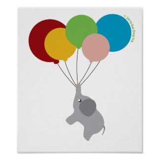 Baby Elephant with Balloons Poster