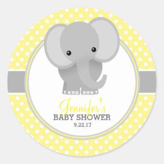 Baby Elephant (yellow) Baby Shower Round Sticker