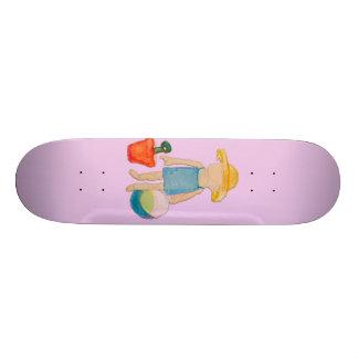 Baby Girl on Summer Beach Birthday Rose Pink Stamp Skate Decks