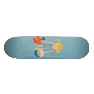 Baby Girl Toddler on Summer Beach Birthday Blue Skate Decks
