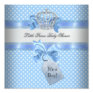 """Baby Shower Boy Blue Little Prince Crown 5.25"""" Square Invitation Card"""