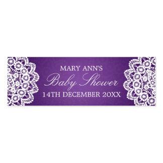Baby Shower Favor Tag Vintage Lace Purple Mini Business Card