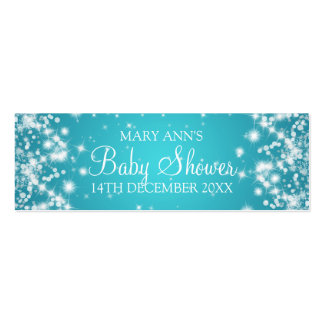 Baby Shower Favor Tag Winter Sparkle Turquoise Mini Business Card