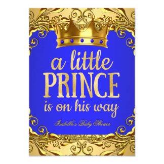 """Baby Shower Prince on his way Gold Royal Blue 5"""" X 7"""" Invitation Card"""