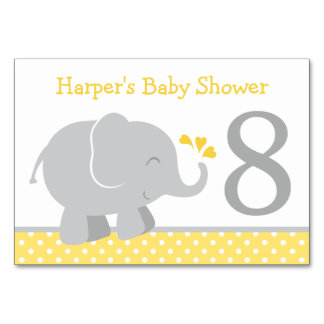Baby Shower Table Number | Yellow Gray Elephant Table Card