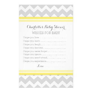 Baby Shower Wishes for Baby Yellow Chevron Custom Stationery