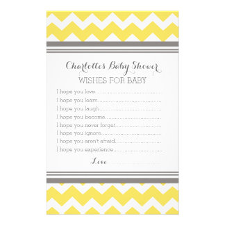 Baby Shower Wishes for Baby Yellow Chevron Stationery Design
