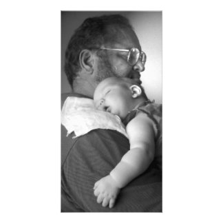 Baby Sleeping on Grandpa's Shoulder Customized Photo Card