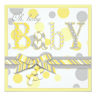 """Baby Yellow Gray Dots Baby Shower 5.25"""" Square Invitation Card"""