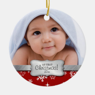 Baby's 1st Christmas.  Add your photo Round Ceramic Ornament