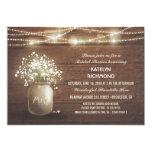 "Baby's Breath Mason Jar Lights Bridal Shower 5"" X 7"" Invitation Card"