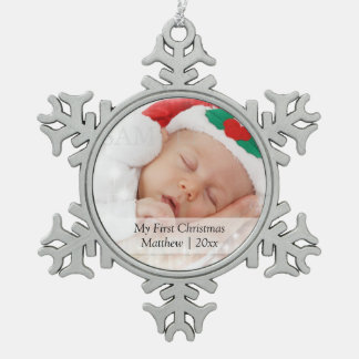 Babys First Christmas Personalized Photo Template Pewter Snowflake Ornament