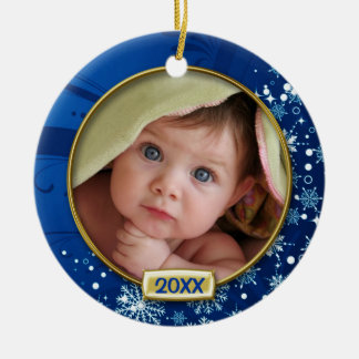 Baby's First Christmas Photo Frame Round Ceramic Ornament