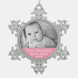 Baby's First Christmas Photo Pink Girl Background Pewter Snowflake Ornament