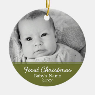Baby's First Christmas Photo - Single Sided Round Ceramic Ornament