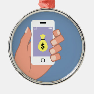 Bag of money Smartphone in Hand App Silver-Colored Round Ornament