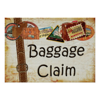 Baggage Claim Sign Poster