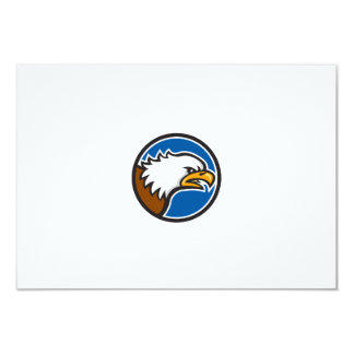 "Bald Eagle Head Screaming Circle Retro 3.5"" X 5"" Invitation Card"