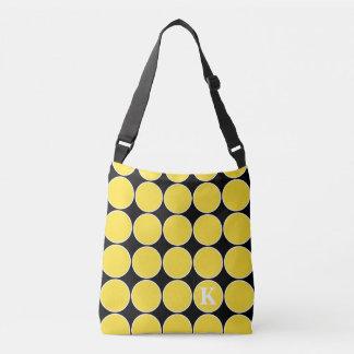 Banana Yellow Polka Dot on Black Monogram Tote Bag