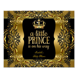 Banner Baby Shower Little Prince Gold Black Poster