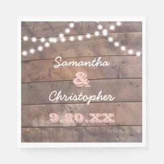 Barnwood Lights Pink Personalized Paper Napkins