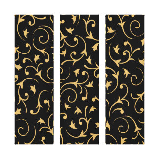Baroque Design – Gold on Black Stretched Canvas Print