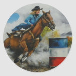 Barrell Racer Painting on Customizable Products Round Sticker