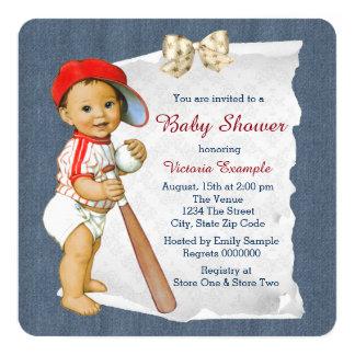 "Baseball and Denim Baby Boy Shower 5.25"" Square Invitation Card"