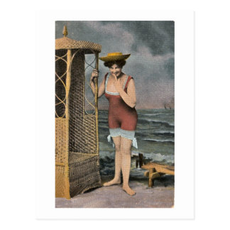 Bathing Beauty at the Beach - vintage hand colored Postcard