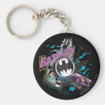 Batman Gotham Skyline Sketch Basic Round Button Keychain