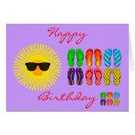 Beach Flip Flops and Sun with Sunglasses Birthday Greeting Card