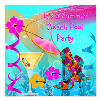 """Beach Pool Party Summer Hot Pink Teal 5.25"""" Square Invitation Card"""