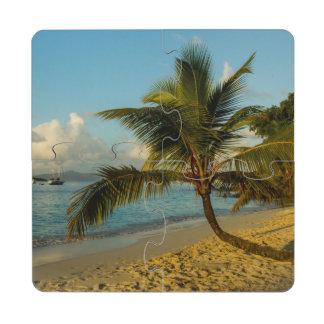 Beach scenic puzzle coaster