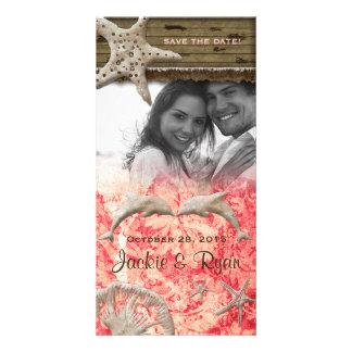 Beach Wedding Photocard Dolphins Coral Shells Photo Cards