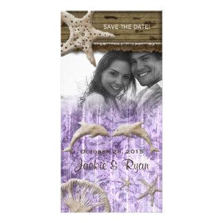Beach Wedding Photocard Dolphins Purple Shells Personalized Photo Card
