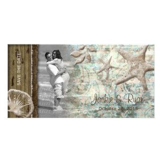 Beach Wedding Photocard Seashell Beige Wood Customized Photo Card