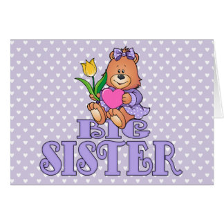 Bear with Heart Big Sister Note Card
