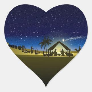 beautiful Christmas nativity image print Heart Sticker