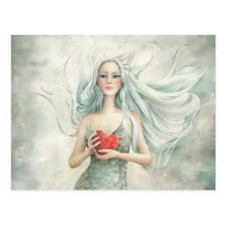 Beautiful Ethereal Figure and Heart Postcard