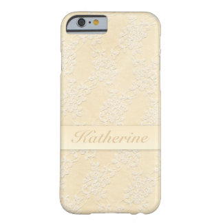 Beautiful Girly Beige Retro Lace Pattern Feminine Barely There iPhone 6 Case
